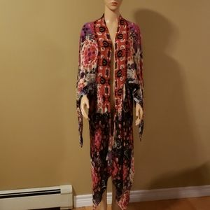 Free People bright printed  open shrug OS